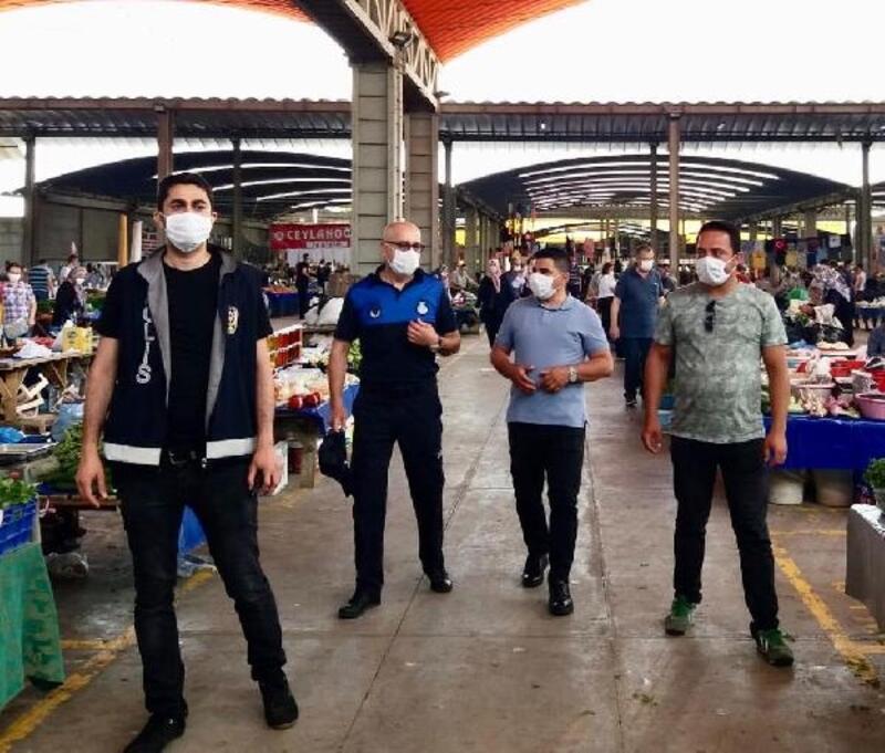 Lüleburgaz'da pazara gelenler maskesiz alınmıyor