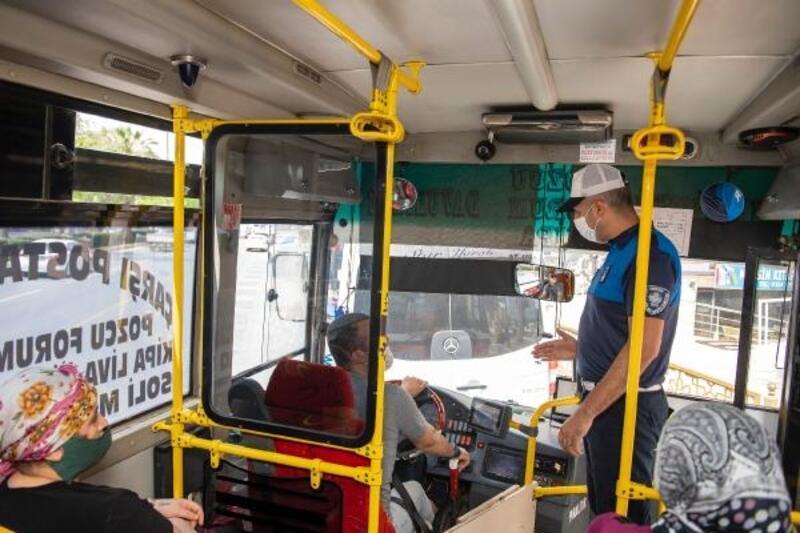 Mersin'de toplu taşımada maske denetimi