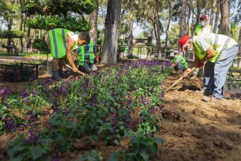 Kepez'in park ve bahçeler ekibi gece gündüz çalışıyor
