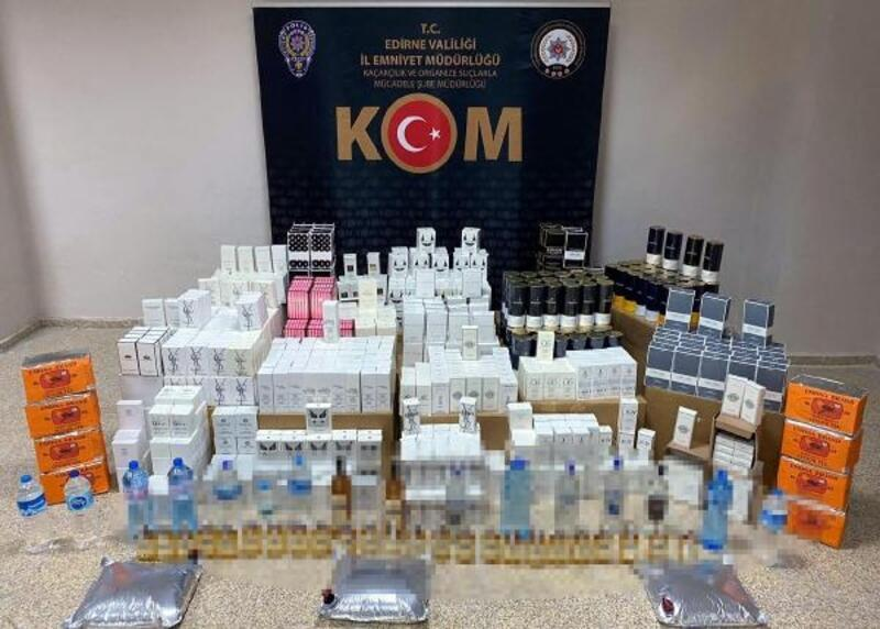Edirne'de, kaçak içki, parfüm ve çay ele geçirildi