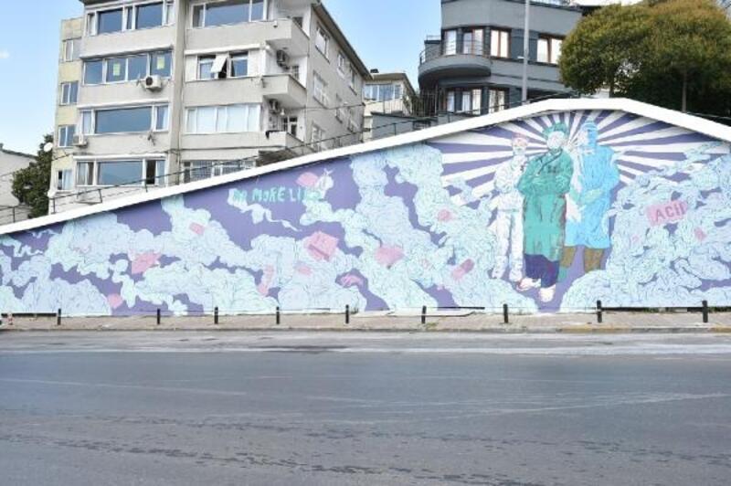 Beşiktaş'ta sağlık emekçilerine saygı duvarı