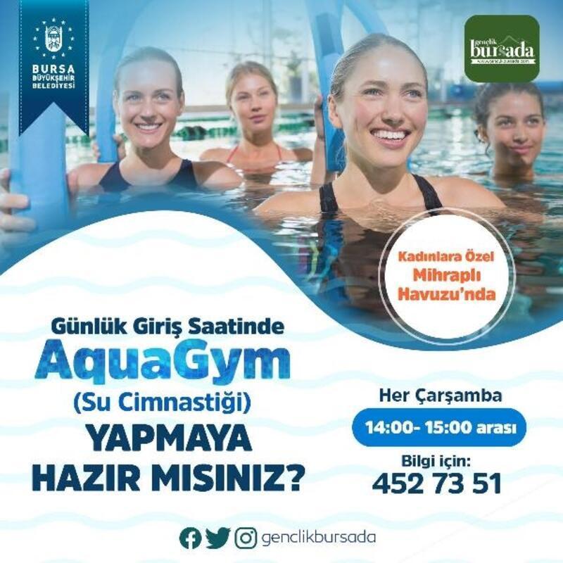 Bursa'da kadınlara özel suda cimnastik etkinliği