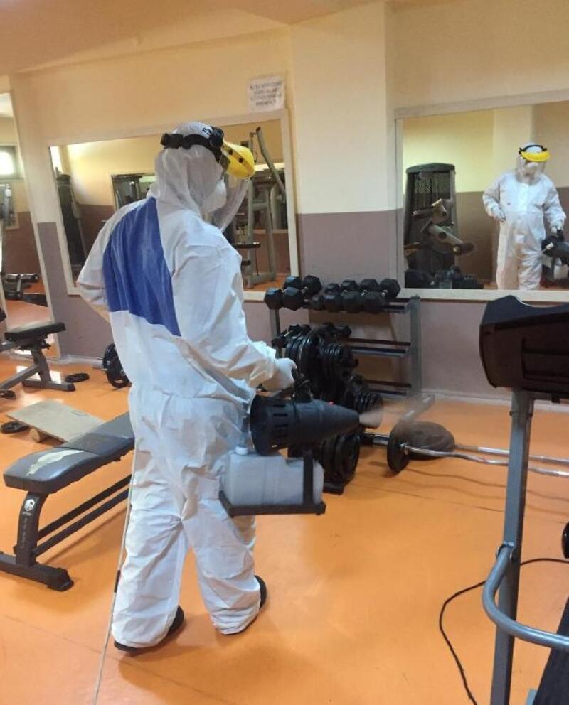 Spor tesisleri dezenfekte edildi