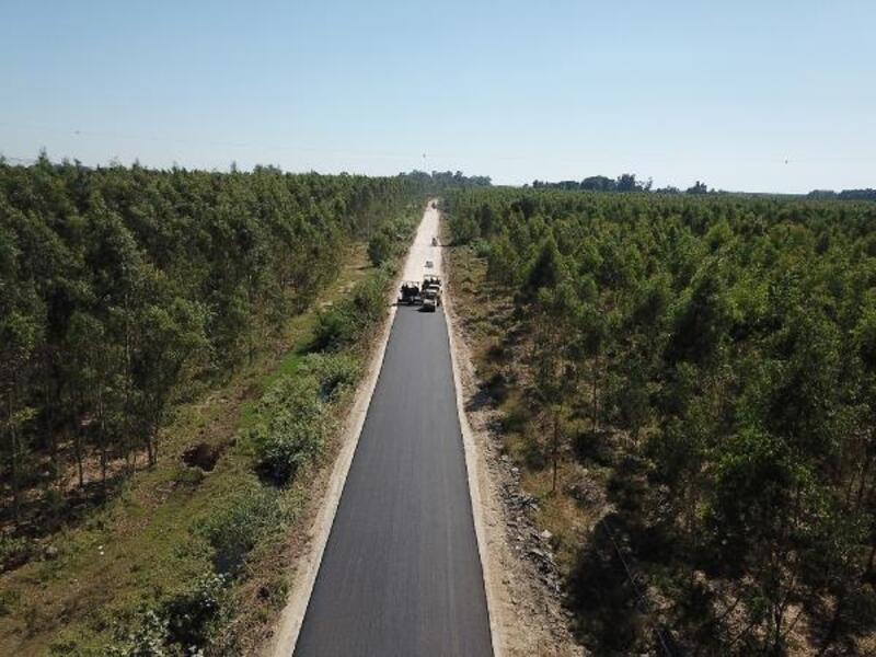 Karabucak orman yolunda asfalt çalışması