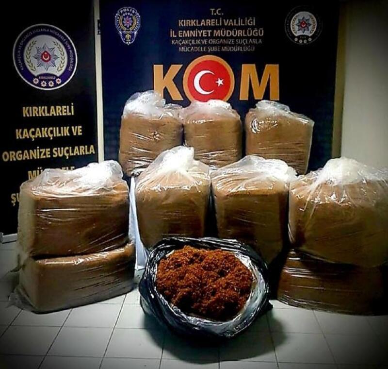 Kırklareli'de 300 kilo kaçak tütün ele geçirildi