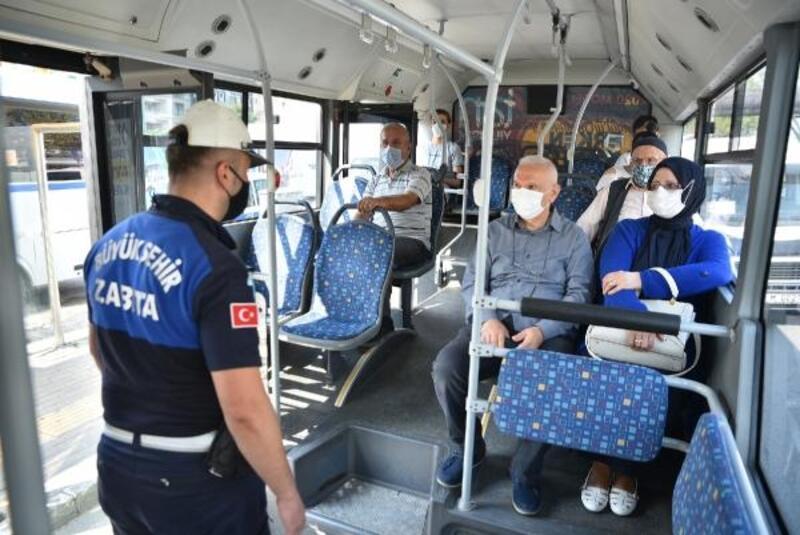 Zabıta ekiplerinden toplu taşımada koronavirüs denetimi