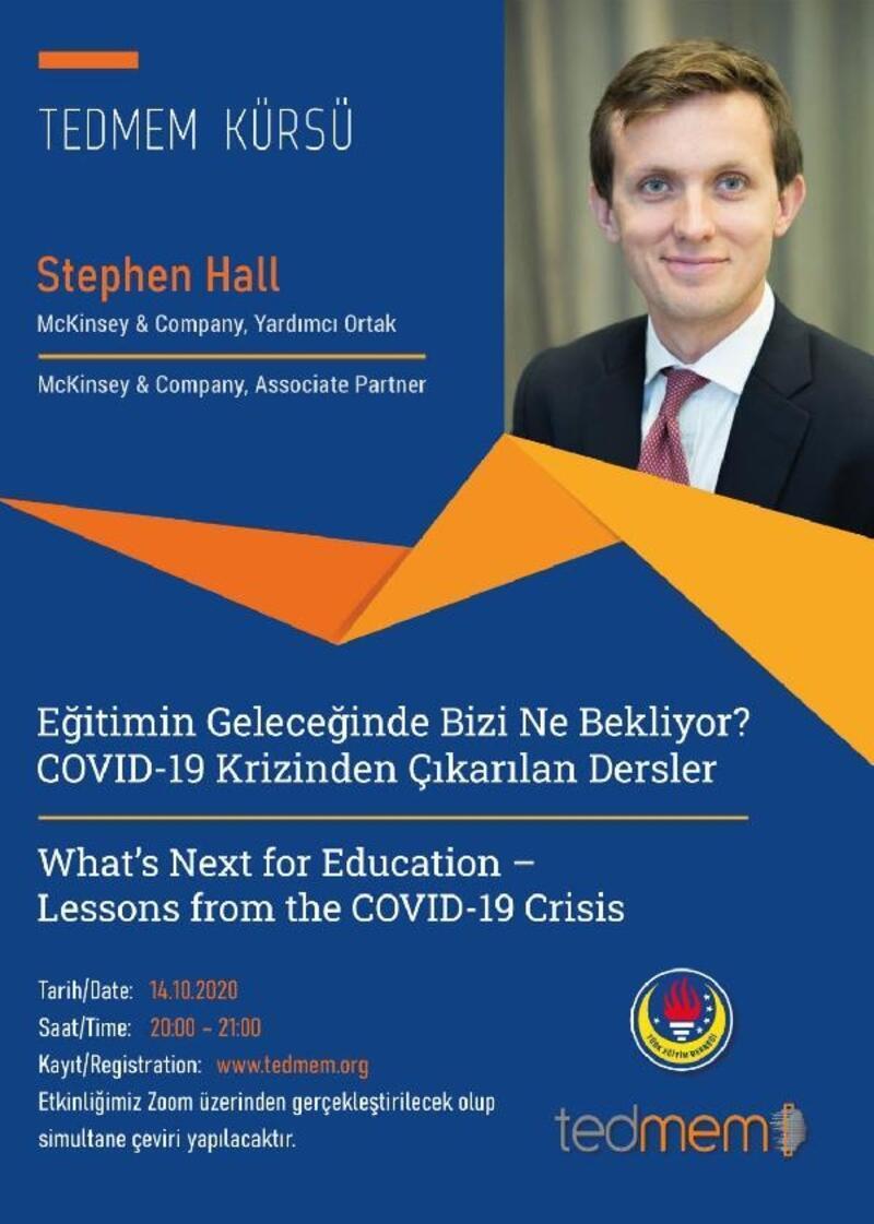 Uluslararası eğitim uzmanı Stephen Hall, TEDMEM'e konuk oluyor