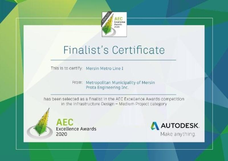 Mersin'in metro projesi, 'Aec Excellence Awards'da finalist oldu