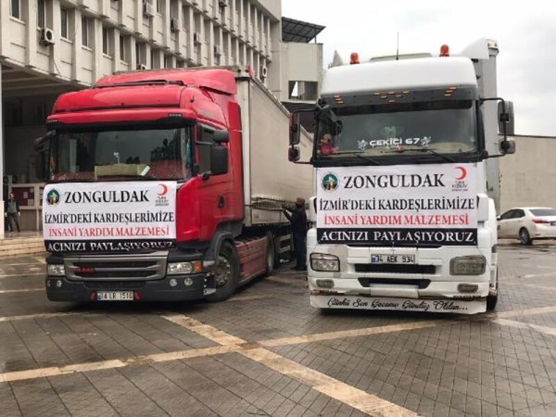 Zonguldak'ta İzmir'e yardım TIR'ları gönderildi