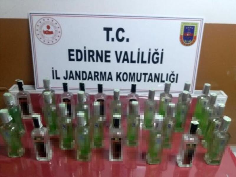 Edirne'de 30 şişe kaçak içki ele geçirildi