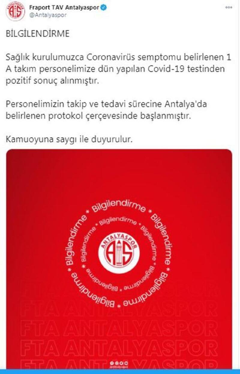 Antalyaspor'da 1 personel pozitif