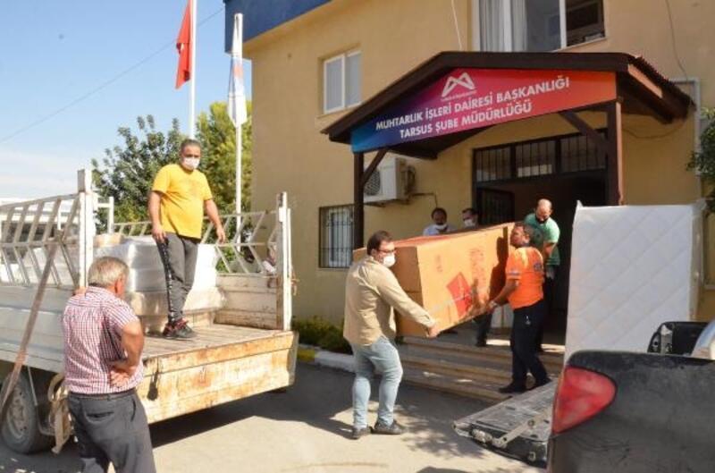 Mersin'de evleri yanan ailelere eşya desteği