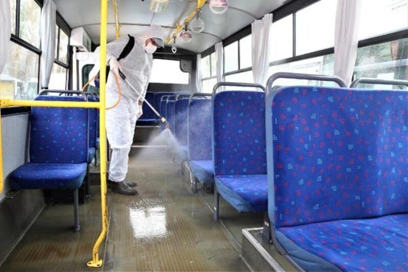 Tokat'ta toplu taşıma araçları dezenfekte edildi