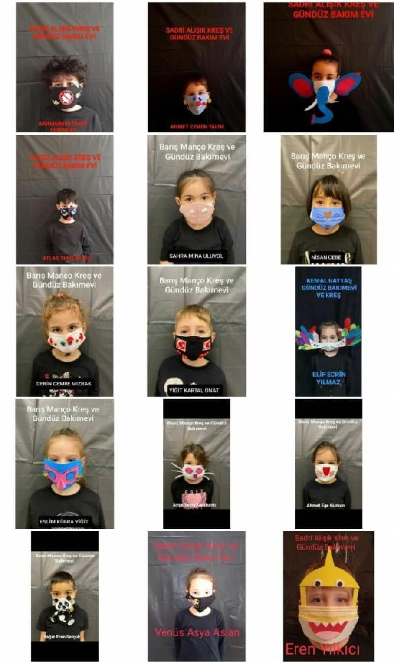 Minik öğrenciler, kendi tasarladıkları maskeleri görücüye sundu