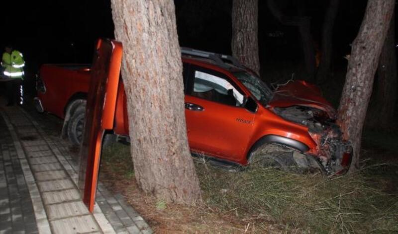 Kamyonet ağaçlara çarptı: 2 yaralı
