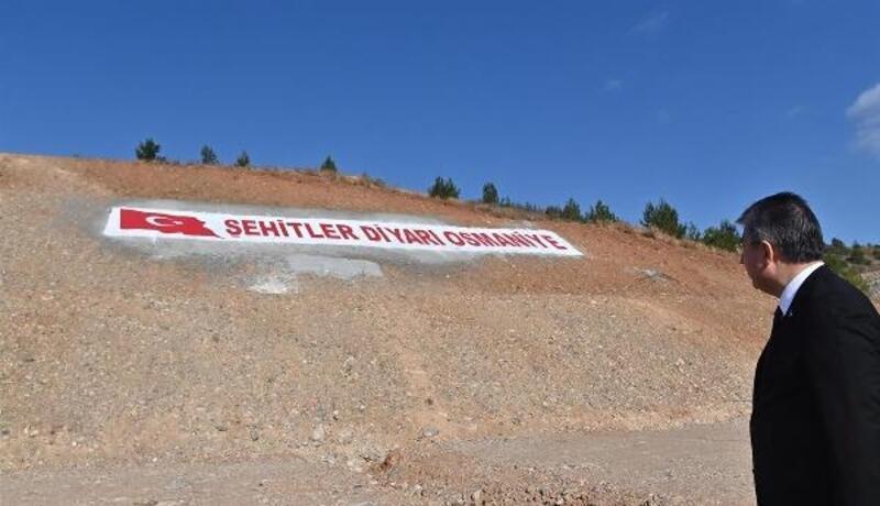 Köyün yamacına 'Şehitler diyarı Osmaniye' yazıldı