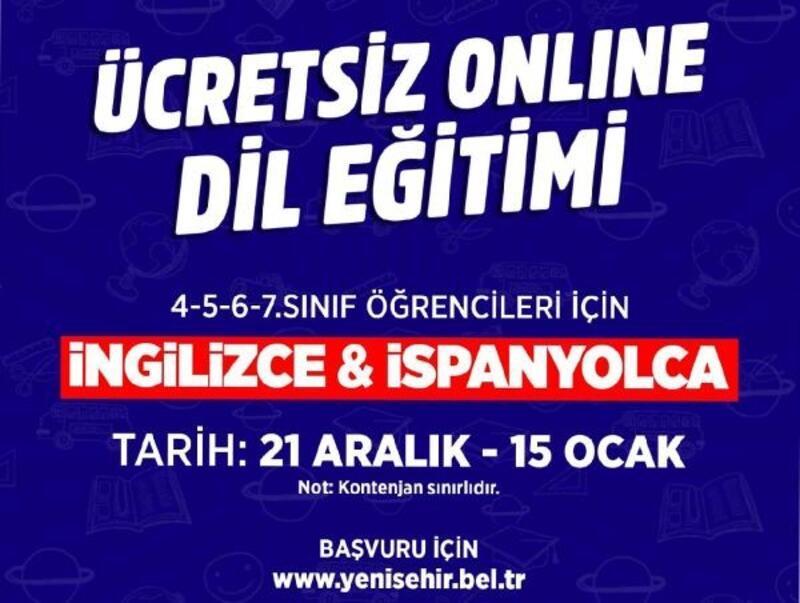 Yenişehir Belediyesi'nden online İngilizce ve İspanyolca dil eğitimi