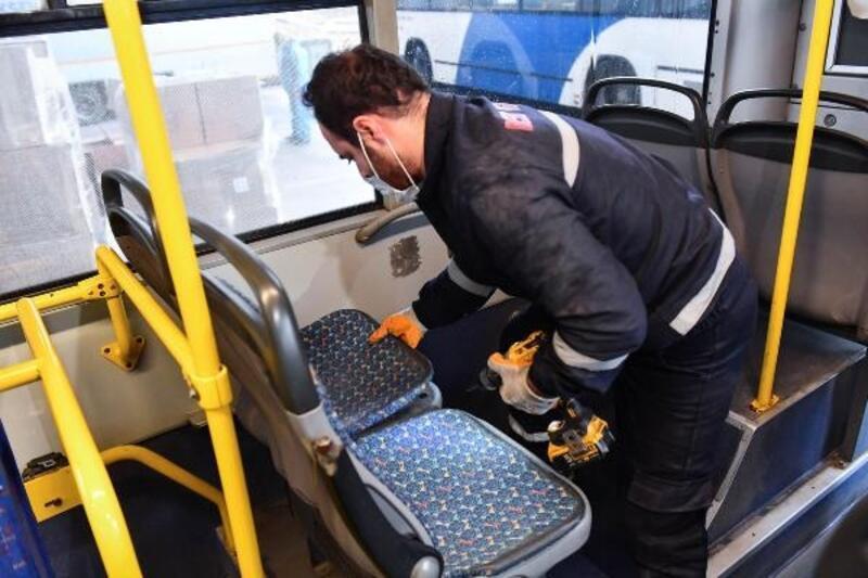 Başkent'teki otobüslerin koltuk kumaşları değişiyor