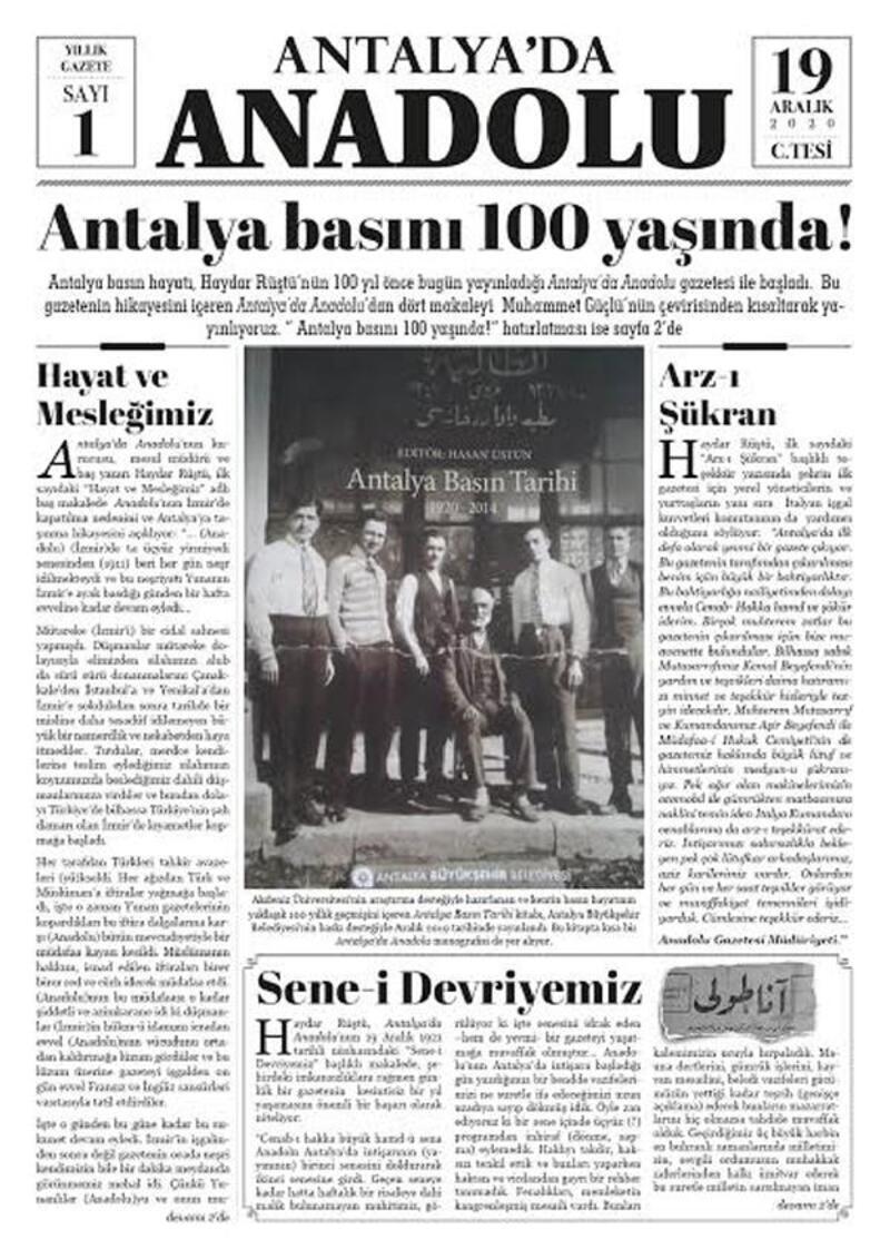 Antalya basının 100'üncü yılına özel sayı