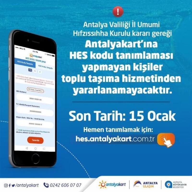 Toplu taşımada HES kodunuzu Antalyakart'a 15 Ocak'a kadar eşleştirin