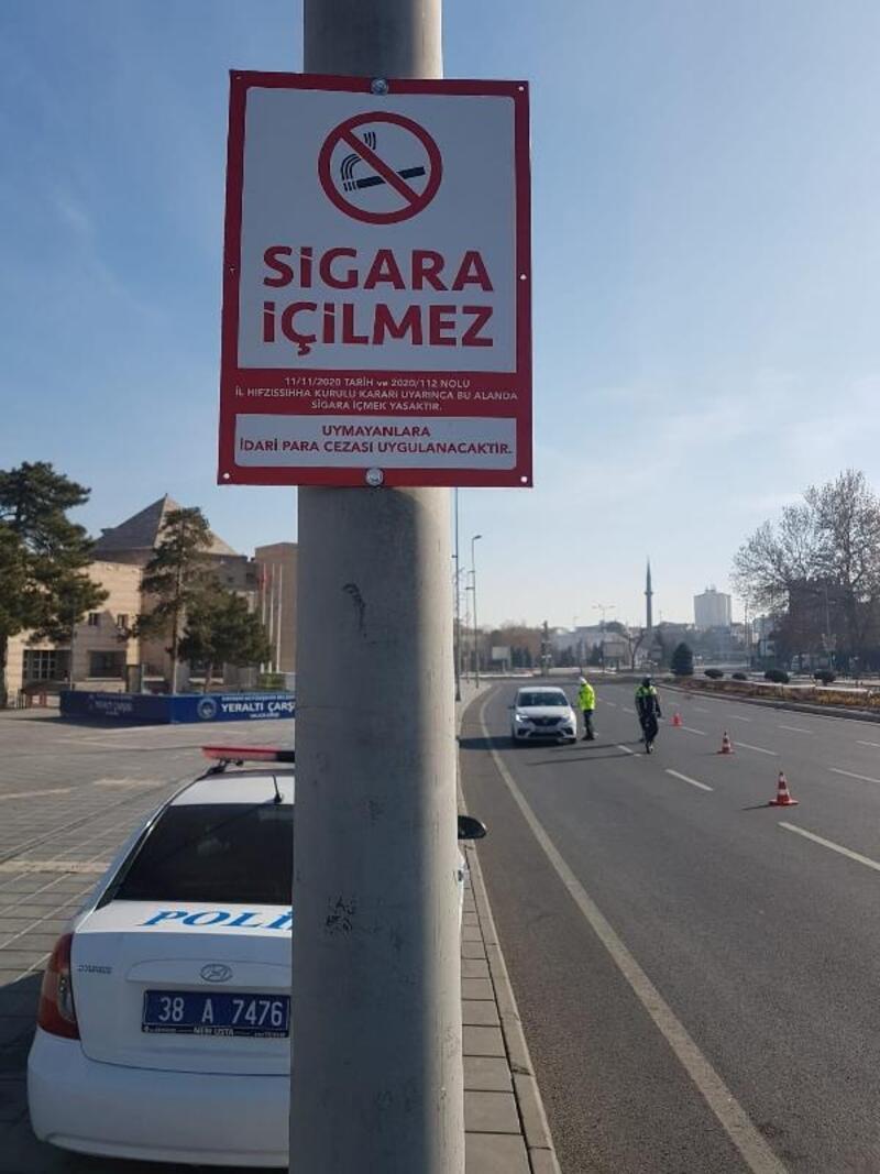 Kayseri'de 'Sigara İçilmez' levhaları asıldı