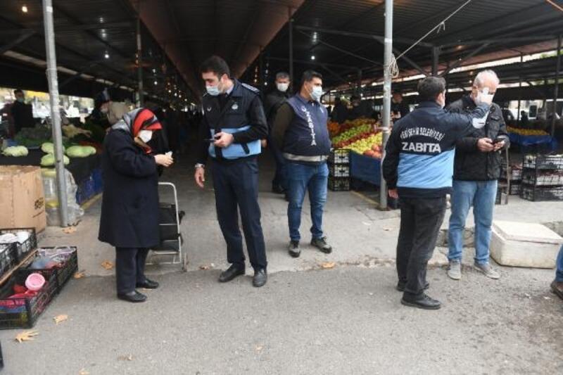 Yenişehir'deki pazar yeri girişlerinde HES kodu uygulaması