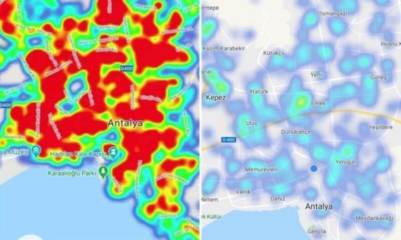 Antalya risk haritası maviye döndü