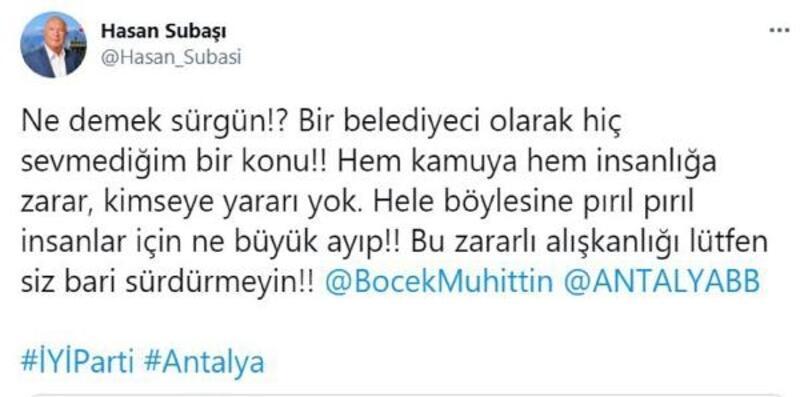İYİ Partili vekilden Böcek'e 'sürgün' tepkisi