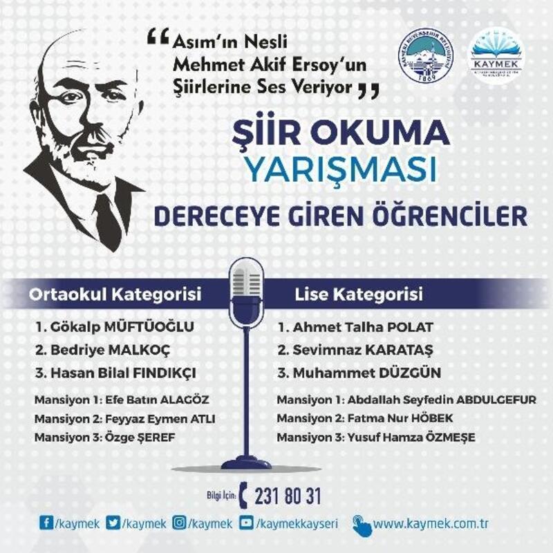 Büyükşehir'in şiir okuma yarışması sonuçlandı