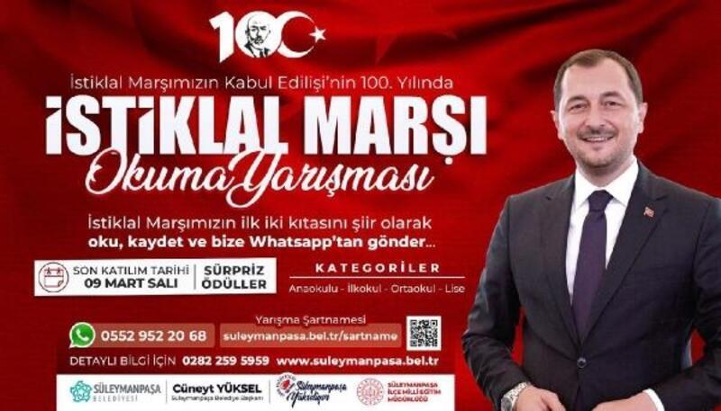Süleymanpaşa Belediyesi'nden İstiklal Marşı okuma yarışması