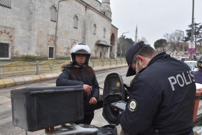 Edirne'de motosikletli kuryelere uygulama