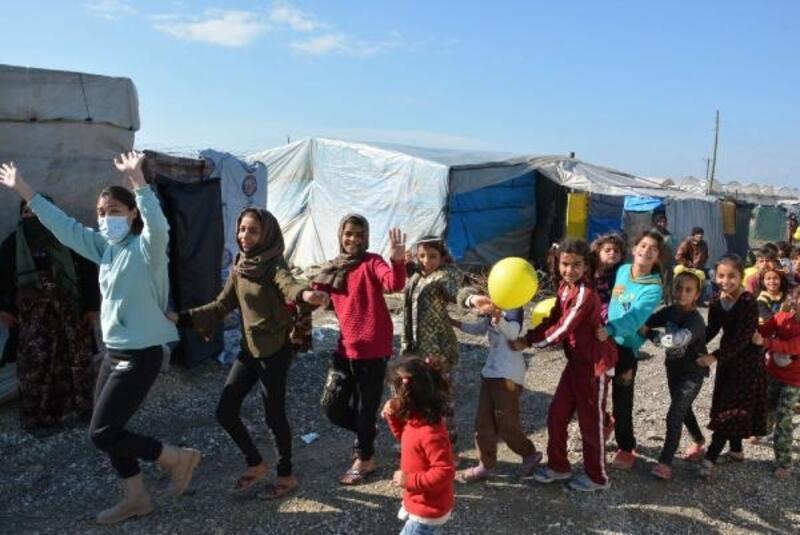 Çadırda yaşanan çocuklar mutlu anlar yaşadı