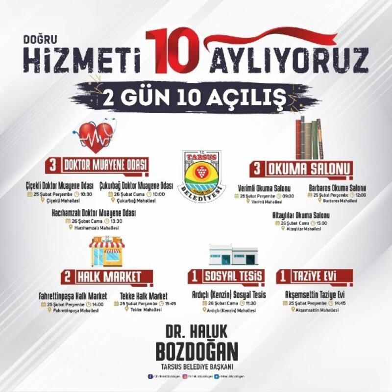 Tarsus'ta belediye 10 tesisi daha hizmete açıyor