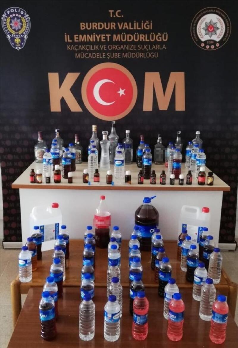 Burdur'da kaçak içki baskını