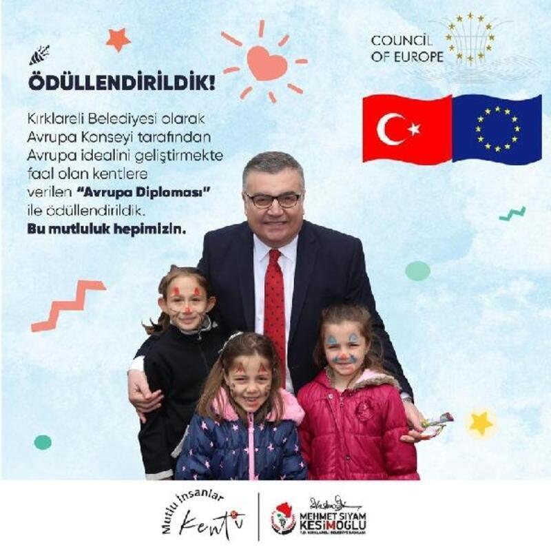 Avrupa Konseyi, Kırklareli Belediyesi'ni 'Avrupa Diploması' ile ödüllendirdi