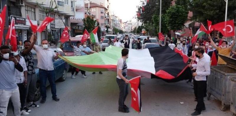 Burdur'da İsrail'i protesto konvoyu