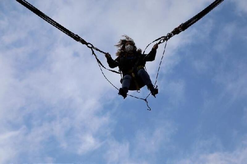 Trabzon'da dağ yamacındaki parkta adrenalin