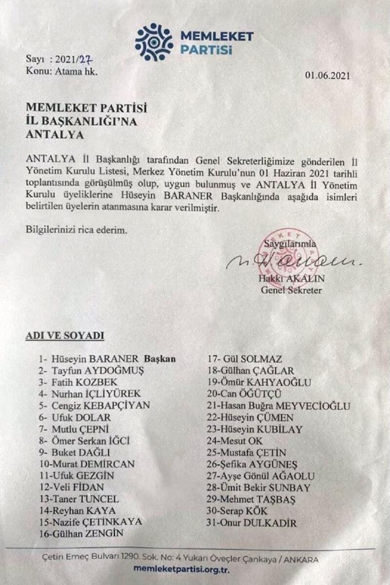 Memleket Partisi'nin Antalya takımı belli oldu