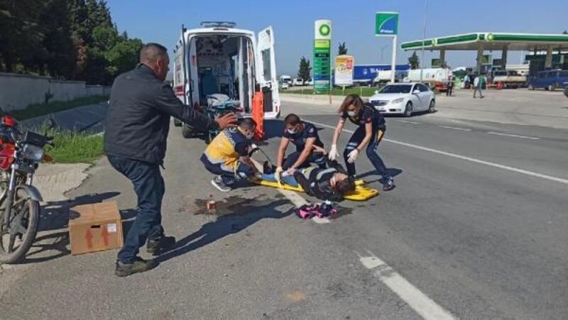Otomobile arkadan çarpan motosikletteki karı-koca yaralandı