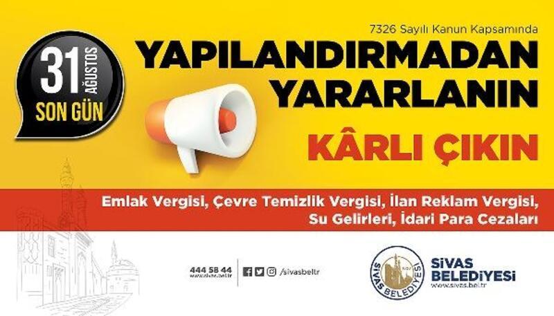 Sivas Belediyesi'nden vergi borcu uyarısı