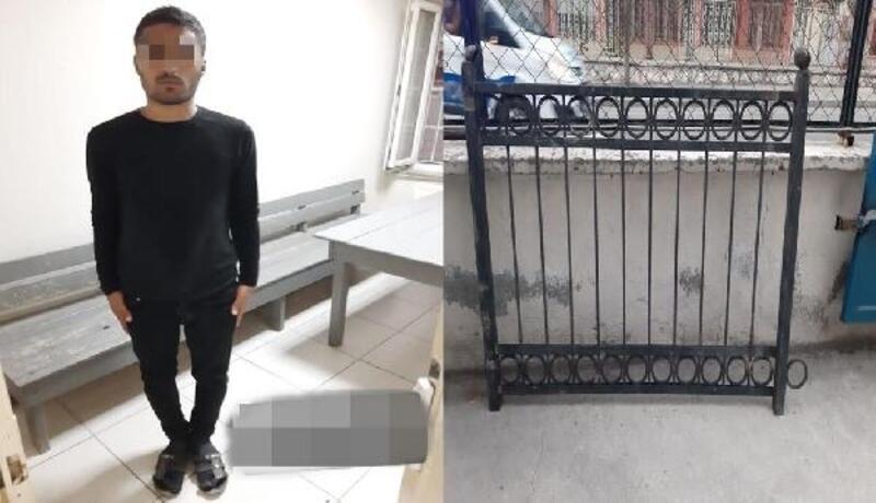 Çaldığı demir korkuluğu sırtında taşırken, polise yakalandı