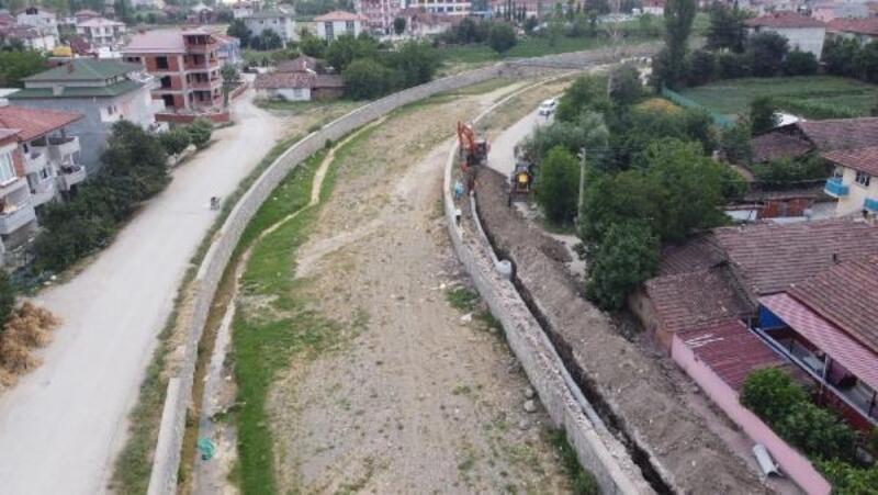 Erbaa'da kanalizasyon hattını arıtma tesisine bağlama çalışması
