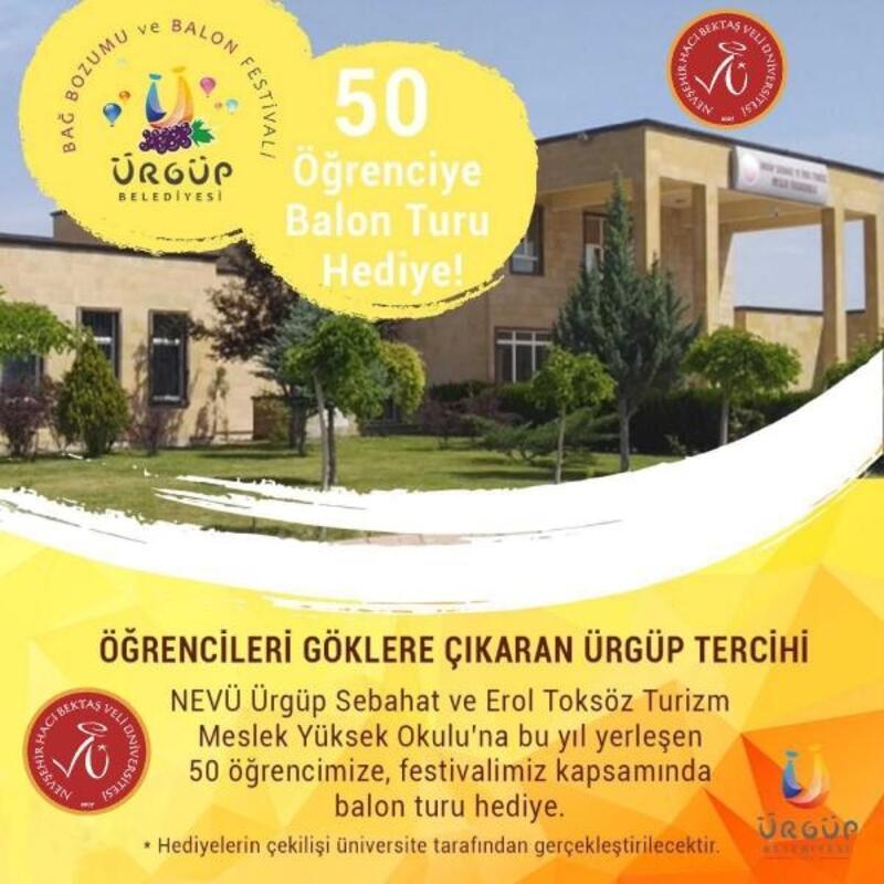 Ürgüp Belediyesi'nden NEVÜ'yü tercih eden 50 öğrenciye balon turu