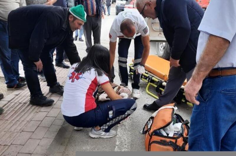 Kamyon bisiklet sürücüsüne çarptı; 1 yaralı
