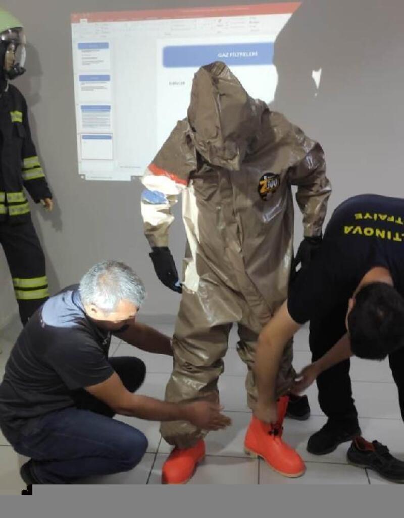 Altınova'da tfaiyecilere, kimyasal biyolojik nükleer eğitimi verildi