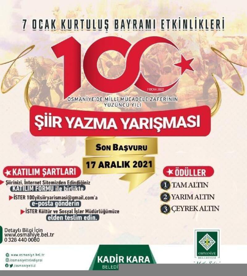 7 Ocak Osmaniye'nin kurtuluşu konulu şiir yarışması