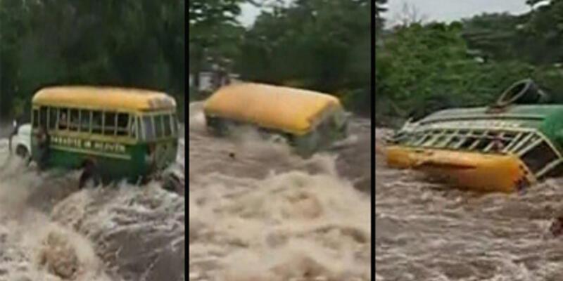 Tur otobüsü nehirde devrilerek sürüklendi
