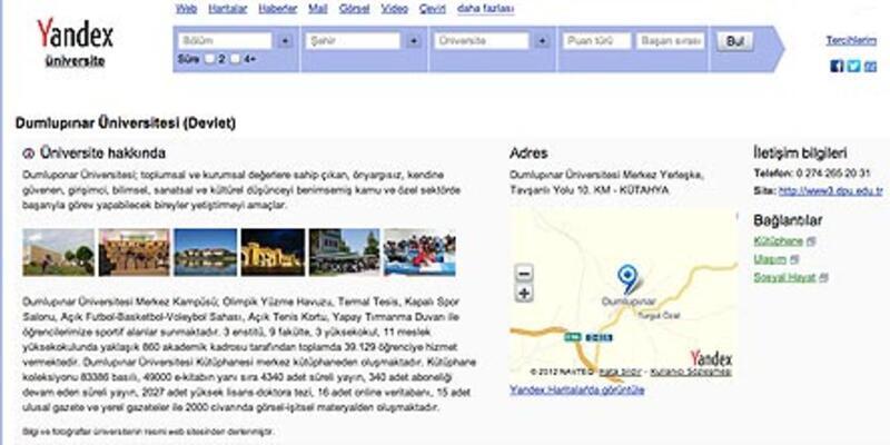 Yandex'ten güncel üniversite rehberi