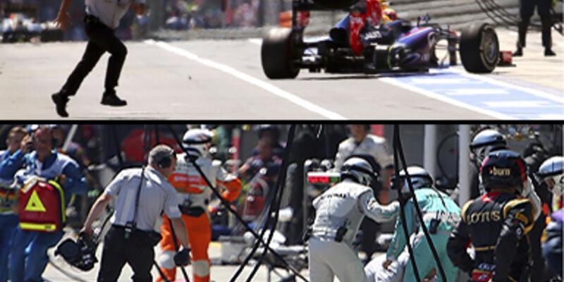 Webber'in lastiği çıktı, kameramana çarptı