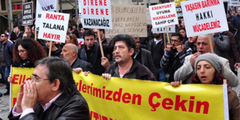 Konut mağdurları Taksim'e çıktı